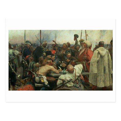 Los Cossacks de Zaporozhye que escriben una letra Postal