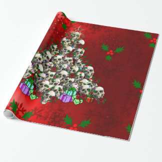 Los cráneos del navidad papel de regalo