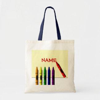 Los creyones colorean la mi bolsa de asas de los n