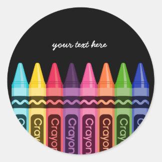 Los creyones * elija su color de fondo pegatina redonda
