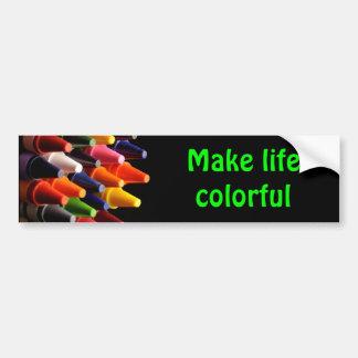 Los creyones, hacen vida colorida pegatina para auto