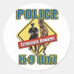 Los criminales K9 se guardan Pegatina Redonda