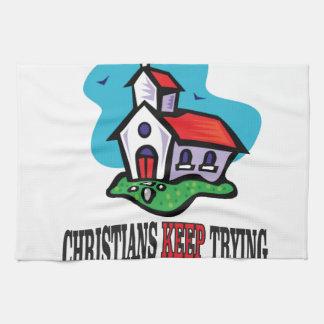 los cristianos guardan el intentar toallas de mano