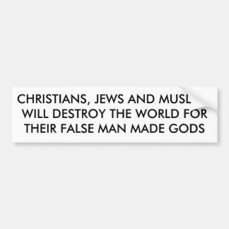 LOS CRISTIANOS, LOS JUDÍOS Y MUSLIMSWILL DESTRUYEN PEGATINA PARA AUTO