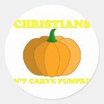 Los cristianos no tallan las calabazas etiquetas redondas
