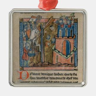 Los cruzados bombardean Nicaea con las cabezas en Adorno Navideño Cuadrado De Metal