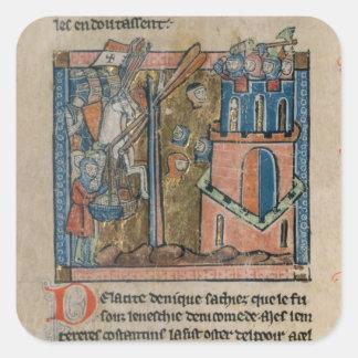 Los cruzados bombardean Nicaea con las cabezas en Pegatina Cuadrada