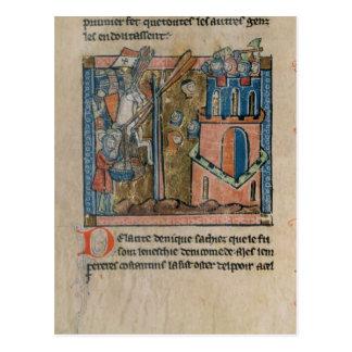 Los cruzados bombardean Nicaea con las cabezas en Postal