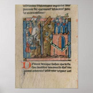 Los cruzados bombardean Nicaea con las cabezas en  Póster
