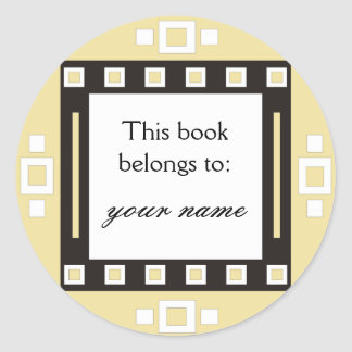 Los cuadrados modernos personalizaron Bookplates Pegatina Redonda