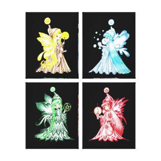 Los cuatro elementos lienzo envuelto para galerias