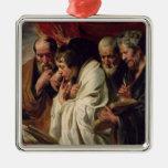 Los cuatro evangelistas adorno navideño cuadrado de metal