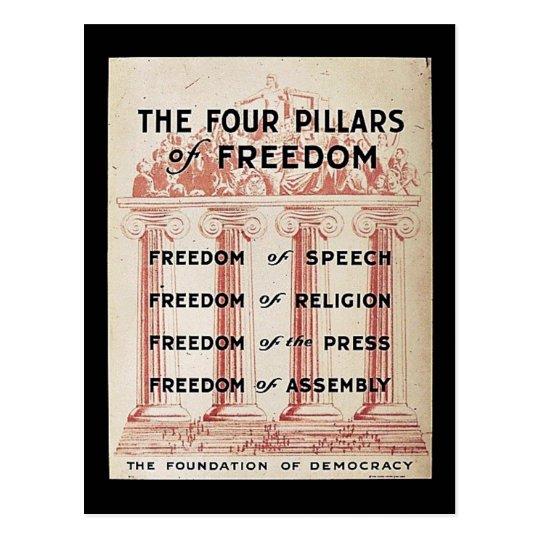 Los cuatro pilares de la libertad postales