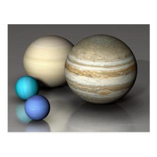 Los cuatro planetas más grandes tarjetas postales