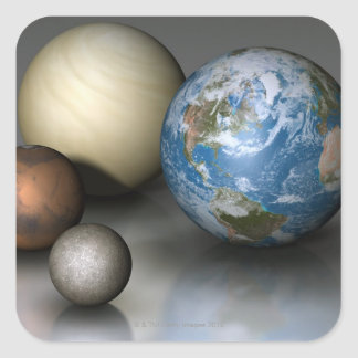 Los cuatro planetas terrestres pegatina cuadradas personalizadas
