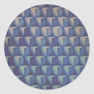 Los cubos del azul pegatina redonda