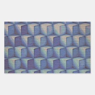 Los cubos del azul pegatina rectangular