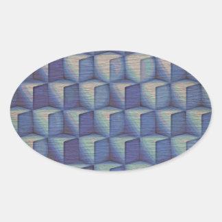 Los cubos del azul pegatina ovalada