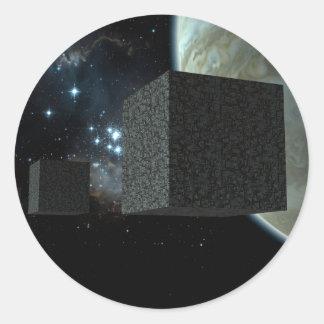 Los cubos pegatina redonda