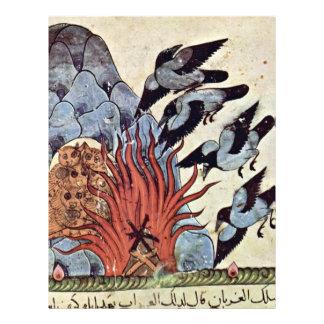 Los cuervos doblan sus alas con el fuego que quema tarjeta publicitaria
