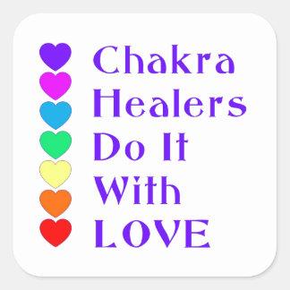 Los curadores de Chakra lo hacen con amor Pegatina Cuadrada