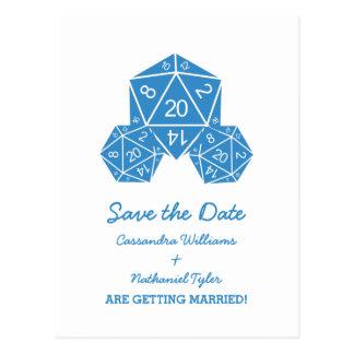 Los dados azules D20 ahorran la postal de la fecha