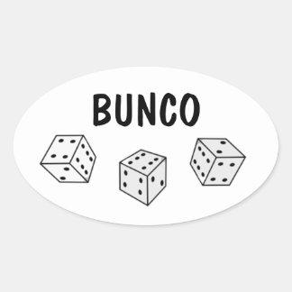 Los dados blancos y negros Bunco personalizan al Pegatina Ovalada