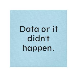 Los datos o él no sucedieron impresión en tela