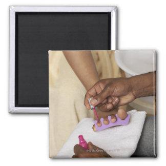Los dedos del pie de la mujer de la pintura del ho iman de frigorífico