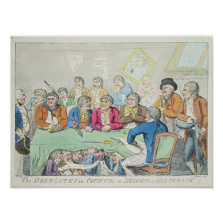 Los delegados en consejo o mendigos a caballo posters