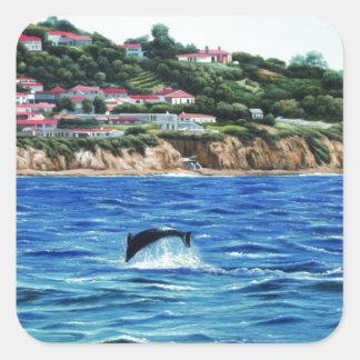 Los delfínes acercan a Palos Verdes Pegatina Cuadrada