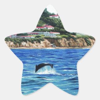 Los delfínes acercan a Palos Verdes Pegatina En Forma De Estrella