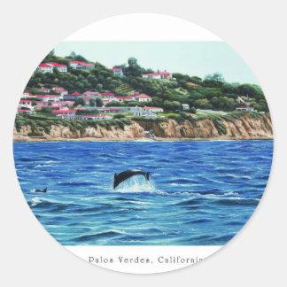 Los delfínes acercan a Palos Verdes Pegatina Redonda