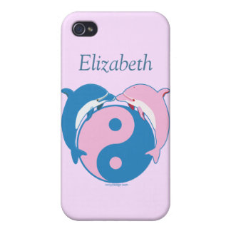 Los delfínes de Yin Yang azules/rosa personalizan iPhone 4 Carcasa