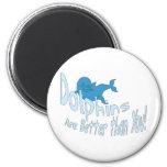 Los delfínes son mejores que usted (el texto azul) imán para frigorífico