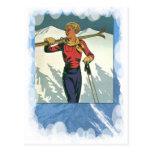 Los deportes de invierno del vintage - aliste para postal