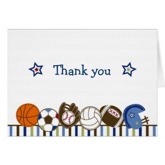 Los deportes de la bola del juego le agradecen las tarjeta pequeña