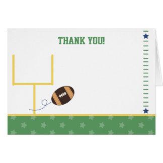 Los deportes del fútbol doblados le agradecen tarjeta pequeña