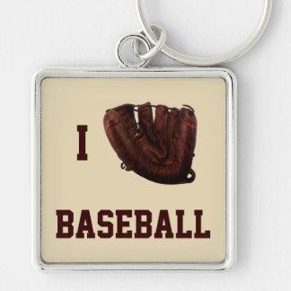 Los deportes del vintage, amo el béisbol, béisbol llavero cuadrado plateado