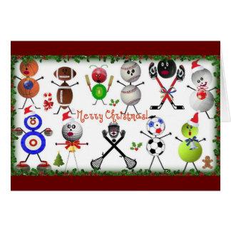 Los deportes llenaron Felices Navidad Tarjeta De Felicitación