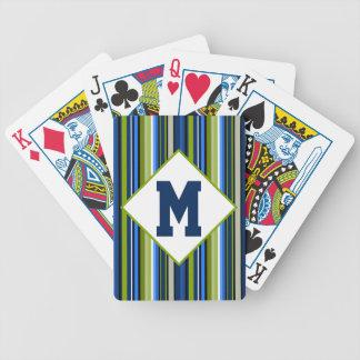 Los deportes rayan el azul y el verde baraja de cartas bicycle