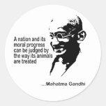 Los derechos de los animales de Mahatma Gandhi Pegatina Redonda