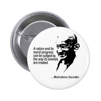 Los derechos de los animales de Mahatma Gandhi Pin Redondo 5 Cm