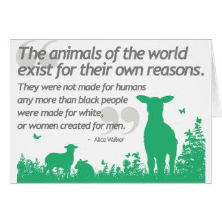 Los derechos de los animales - diseño de la cita d felicitacion
