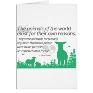 Los derechos de los animales - diseño de la cita d tarjetón