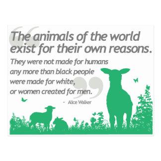 Los derechos de los animales - diseño de la cita d postal