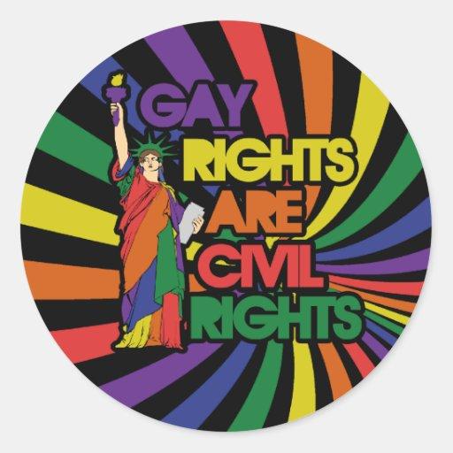 Los derechos de los homosexuales correcto civiles pegatina redonda
