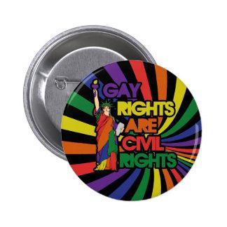 Los derechos de los homosexuales correcto civiles pin redondo de 2 pulgadas