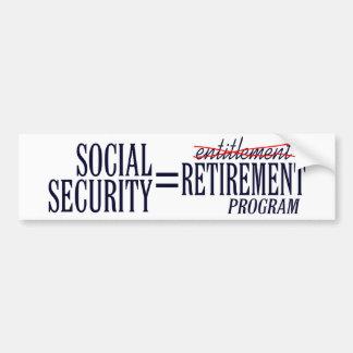 Los derechos de Seguridad Social Pegatina Para Auto