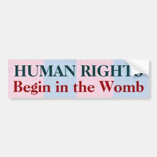 Los derechos humanos comienzan en la matriz pegatina para auto